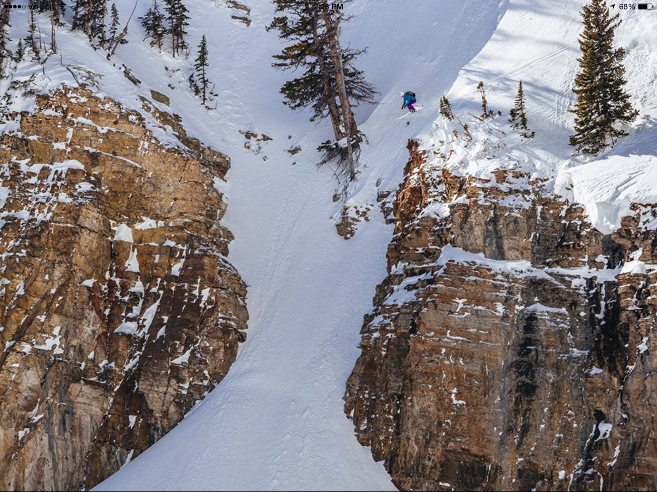 Couldn't find a pic of Hadleys air in Snowbird, but this is her going massive in  in Jackson Hole.