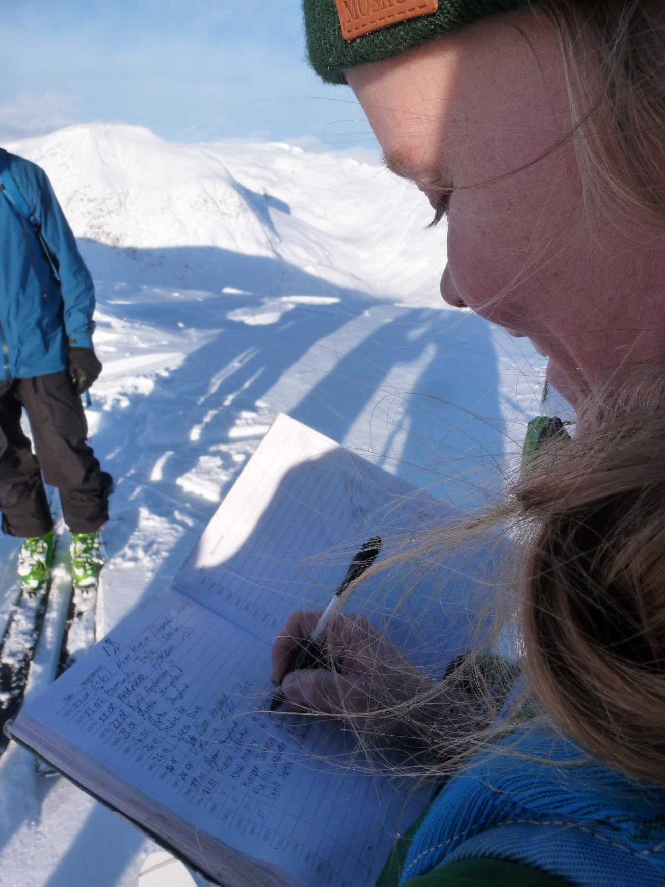 """Marta Lidstrom writing our names in the book on the top of """"Togga""""."""